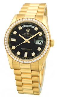Rolex Oyster Perpetual Day-Date 18K Yellow Gold Diamond Ref. 118248