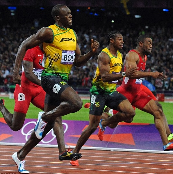 Usain Bolt and Yohan Blake Sprinting