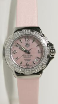 Tag Heuer Formula 1 Diamonds. All pink watch. Steel case with 120 diamonds Wesselton 075 carats. Pink mother of pearl dial and strap in pink canvas.