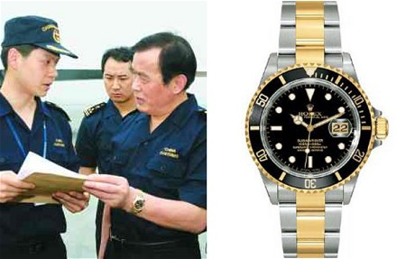 An activist spotted Sheng Guangzu, China's railway minister, wearing a Rolex Submariner, which is worth half of his annual salary. www.telegraph.co.uk